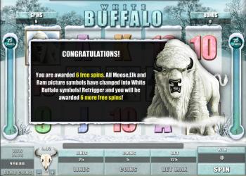White Buffalo Slot – Free Spins Screen