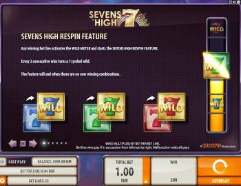 Sevens High – Paytable 1