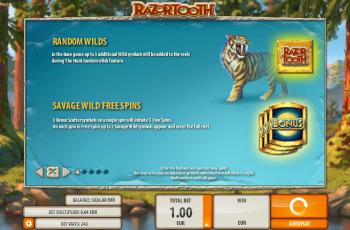 Razortooth Slot Machine – Paytable 1